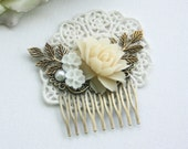 Shades of Ivory and White Flowers, Brass Leaf Filigree Flower Collage Hair Wedding Comb. Bridesmaids Comb, Woodland Country Nature Wedding