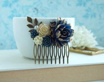 Dark Blue Navy Blue Flower Hair Comb, Gold Dusky Blue Rose, Gold Leaf Hair Comb, Navy Blue Wedding Something Blue Wedding Bridal Hair Comb