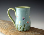 Pottery Mug in Turquoise and Lime with Summer Flowers - Coffee Mug - Tall Mug - by DirtKicker Pottery