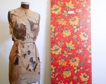 1970s Floral Wallpaper Roll / Sunworthy Double Roll / NOS Unused / Orange