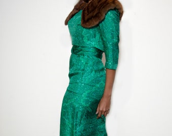 Vintage 60's Mad Men Green Jewel Toned Ikat Wiggle Dress