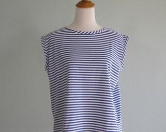 Vintage Blue and White Breton Stripe T-Shirt - Vintage 80s Striped Boxy Top - Vintage 1980s T-shirt M L