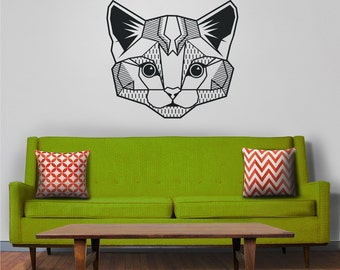 cat wall decal, geometric cat art, abstract feline wall sticker, kitty face, cat meme, geometric, FREE SHIPPING