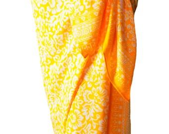Beach Sarong Pareo Wrap Skirt Womens Clothing Batik Sarong Yellow Pareo Swimsuit Coverup Beachwear - Hawaiian Flowers Sarong - Summer Sarong