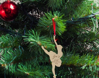 Ballerina Silhouette Wood Ornament, Christmas Gift, Holiday Gift, Custom Engraved, First Christmas Baby Ornament