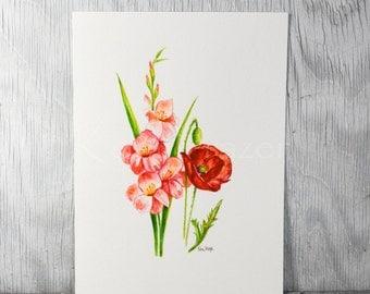 Gladiolus and Poppy, August birthday flower, original watercolor painting, birth month flower, August birthday gift
