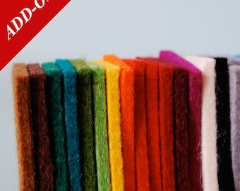 Solid Tone Designer Wool Felt Sample Bag - 100% Wool, 3mm & 5mm Thicknesses, Add-On Item