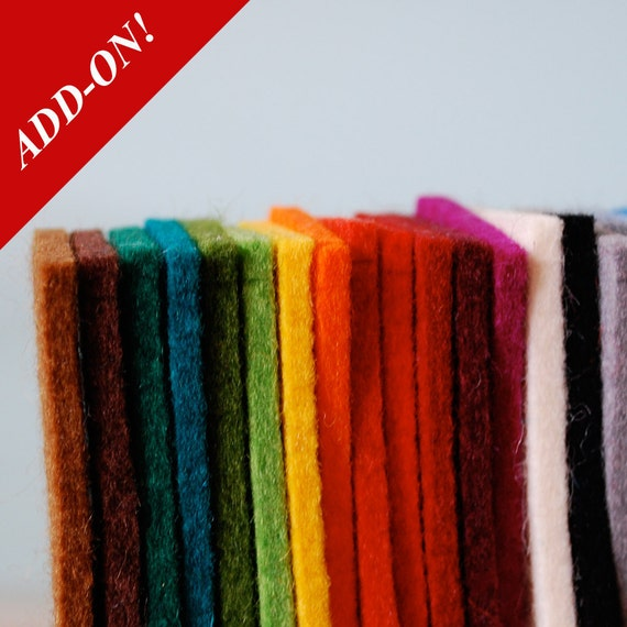 Designer Wool Felt Sample Bag - 100% Wool, 3mm & 5mm Thick Solid Tone, Add-On Item