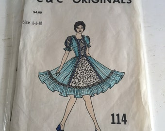 Vintage 1970s Womens Square Dancing Dress Pattern 114 By C And C Originals - Multi Size 6 - 8 - 10