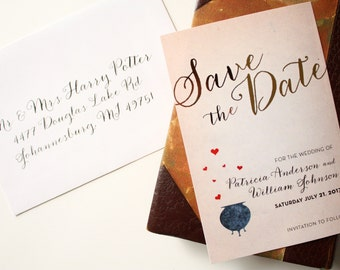 wizard wedding invitation save the date magic wedding wedding stationery wedding invitation - Harry Potter Wedding Invitations