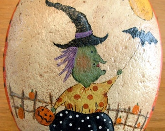 Happy Harvest Witch with Bat River Stone|Garden/Fall Decor