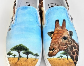 Custom Vans Shoes - Hand Painted Giraffe Painting with Giraffe Skin Pattern and Savannah Landscape
