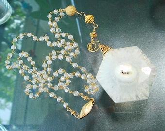 Rock Quartz Necklace, Long Gold Necklace, Glamourous, Solar Quartz Necklace, Stalactite, Mystic Quartz Crystal, 24K Gold Vermeil Bali Beads