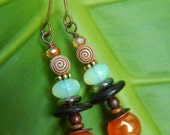 Casbah Earrings - One-of-a-Kind - Rainbow Agates, Czech Glass, Vintage Beads, Mixed Metals, Wood Beads & Crystals w Antiqued Brass Ear Wires