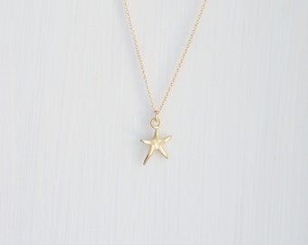 Gold star necklace, little star charm, gold starfish, seastar, lucky star necklace, simple gold jewelry, littleglamour gift for her, Carolyn