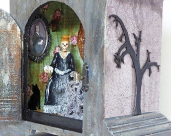 Gothic Skeleton Shadow Box Diorama - Clock Case Shadow Box - Shadow Box Art