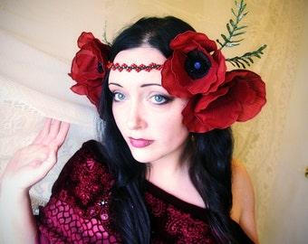 Silk Poppy Headdress