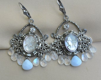 As Cold as Ice / Vintage Assemblage Pierced Earrings with Hand Carved Mother of Pearl Cameos