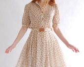 Cream rose, vintage dress, Japan, small - medium