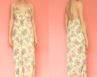 1960s Low Back Empire Waist Sheer Floral Maxi Slip Dress