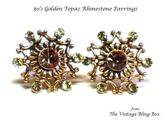 Golden Topaz & Citrine Clip Earrings with Rhinestone Crystals Pave Set in Gold Snowflake Motif - Vintage 50's Figural Costume Jewelry