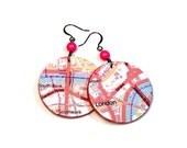 Upcycled Maps, London Earrings, Disc Earrings, Repurposed, Lightweight Dangle, England, British, Gift for Traveler, Travel