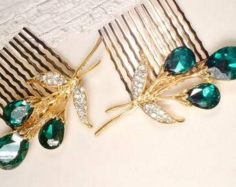 Emerald Green Wedding Hair Comb, 1 or PAIR Clear & Dark Green Rhinestone Gold Bridal Hair Accessory, Emerald Hairpiece, Small Vintage Floral