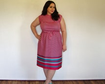 Vintage plus size dress pink and white striped fuschia magenta sleeveless belted dress 80s color block elastic waist size xl