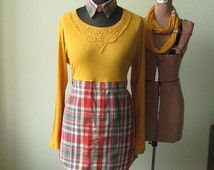 Plus Size Tunic Dress, Refashioned Men's Shirt, Red Plaid Dress, Empire Waist Tops, Tie Back Waist, Plus Size Upcycled Clothing, Long Sleeve