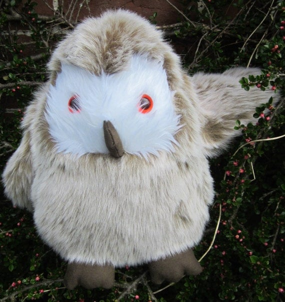 Stuffed Toy Owl Toy Barn Owl Beige Cuddly Toy Cool Toddlers Toy Collectible Adult Toy Cool Toy for Tots, Christmas Present Cool Owl Toy Gift
