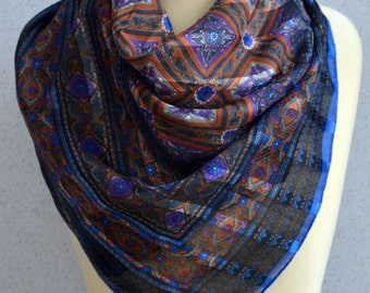 Vintage square scarf: Cobalt blue, Sheer, Ornate, Orange, Silver, Striped, Traditional