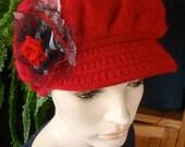 Womens Winter Hat Chemo hat peak cap red woollen hat
