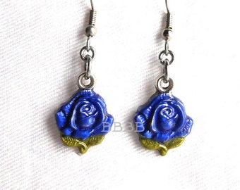 Cosmic Blue Rose Earrings