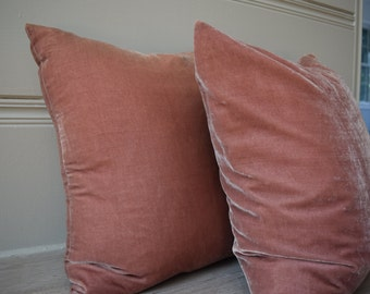 Dusty Rose Silk Velvet Cushion Cover