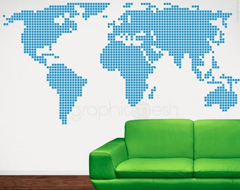 CHECKERED WORLD MAP wall decals - Interior home and office decor