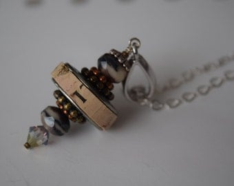 Wine Cork Pendant with Tri Color Accent Beads