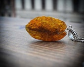 Raw Baltic Amber Necklace - Silver colour metal Chain and Raw Amber Slice Talisman pendant