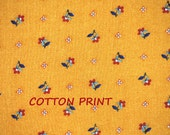 1/2 YARD, QUILT COTTON, Floral Print Fabric, ViP Cranston, Mustard Yellow Brown, Small Flowers, B35