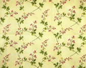 Cream Green Rosehips Print, Quilting Cotton Fabric, Maywood, 7891 Wild Rose, Pink, Leaves, half yard, B3