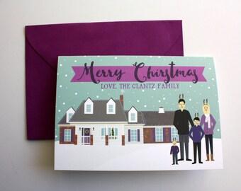 Custom Illustrated Christmas Cards (with Custom House)