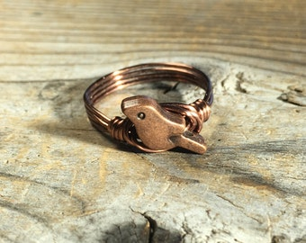 antique copper metal Bird , wire wrapped ring - custom sizes 4 5 6 7 8 9 10 11 12 animal totem simple minimalist women men unisex jewelry