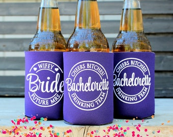 Cheers Bitches, Future Mrs. Bachelorette Drinking Team, Bachelorette Party Favors, Can Coolers, with matching Bride cooler, Deep Purple