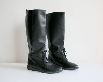 Black Tall Laced Boots