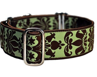 Martingale Dog Collar or Buckle Dog Collar - Damask Jacquard in Green & Brown - 1.5 Inch