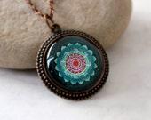 Fortune Mandala Necklace, Antique Copper Pendant,Glass Cabochon Pendant With Chain