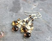 Ombre Gemstone Earrings Cluster Sterling Silver Smoky Quartz, Scapolite, Autumn Colors