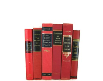 Red Vintage   Books, Vintage Wedding Decor, Vintage  Photography Prop