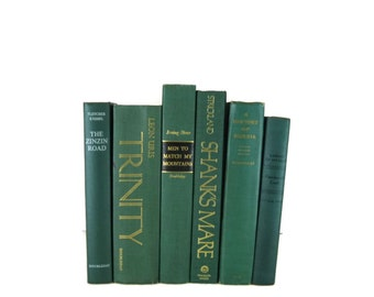 Green Books , Vintage Books , Books , Decorative Books ,  Wedding Decor ,  Photo Prop , Instant Library , Shabby Chic Wedding