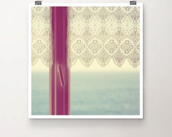Room with a View - Fine Art Print of a Lace Curtain Window overlooking the Ocean in Southern France