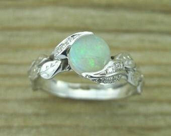 Opal Leaf Ring, Opal Engagement Ring, Opal Ring Gold 18k, Engagement Ring, Natural Floral Leaves Opal Ring, Opal Leaf Engagement Ring